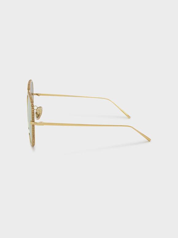 碎鑽方框墨鏡, 金色, hi-res