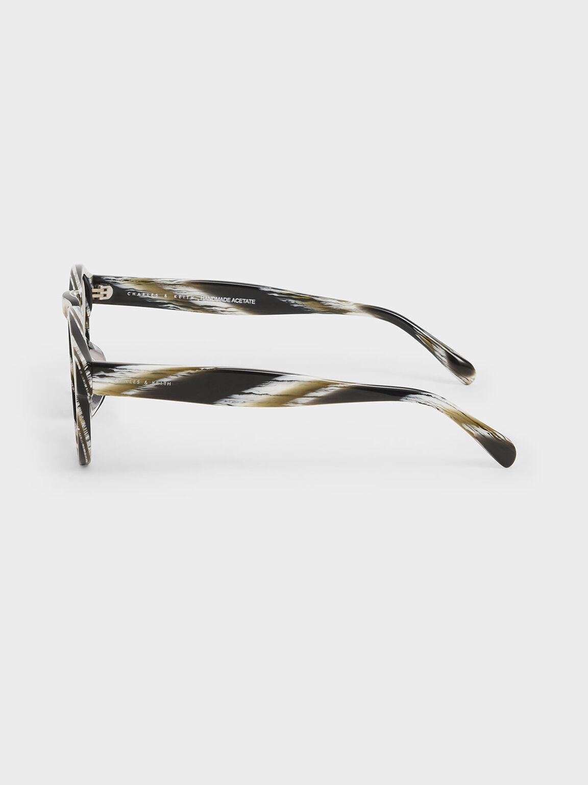 Striped Round Acetate Sunglasses, Multi, hi-res