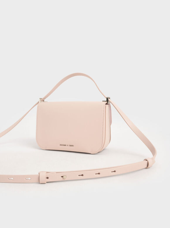 Stone-Embellished Crossbody Bag, Light Pink, hi-res
