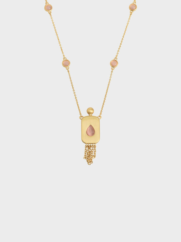Rose Quartz Princess Necklace, Brush Gold, hi-res