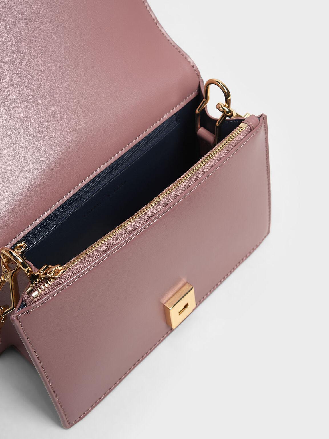 Bow Top Handle Bag, Mauve, hi-res