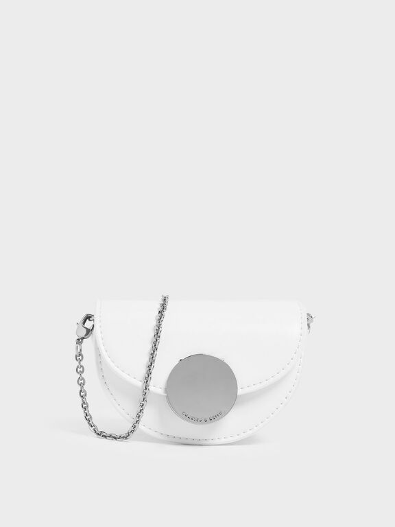 Circular Push Lock Saddle Pouch, White