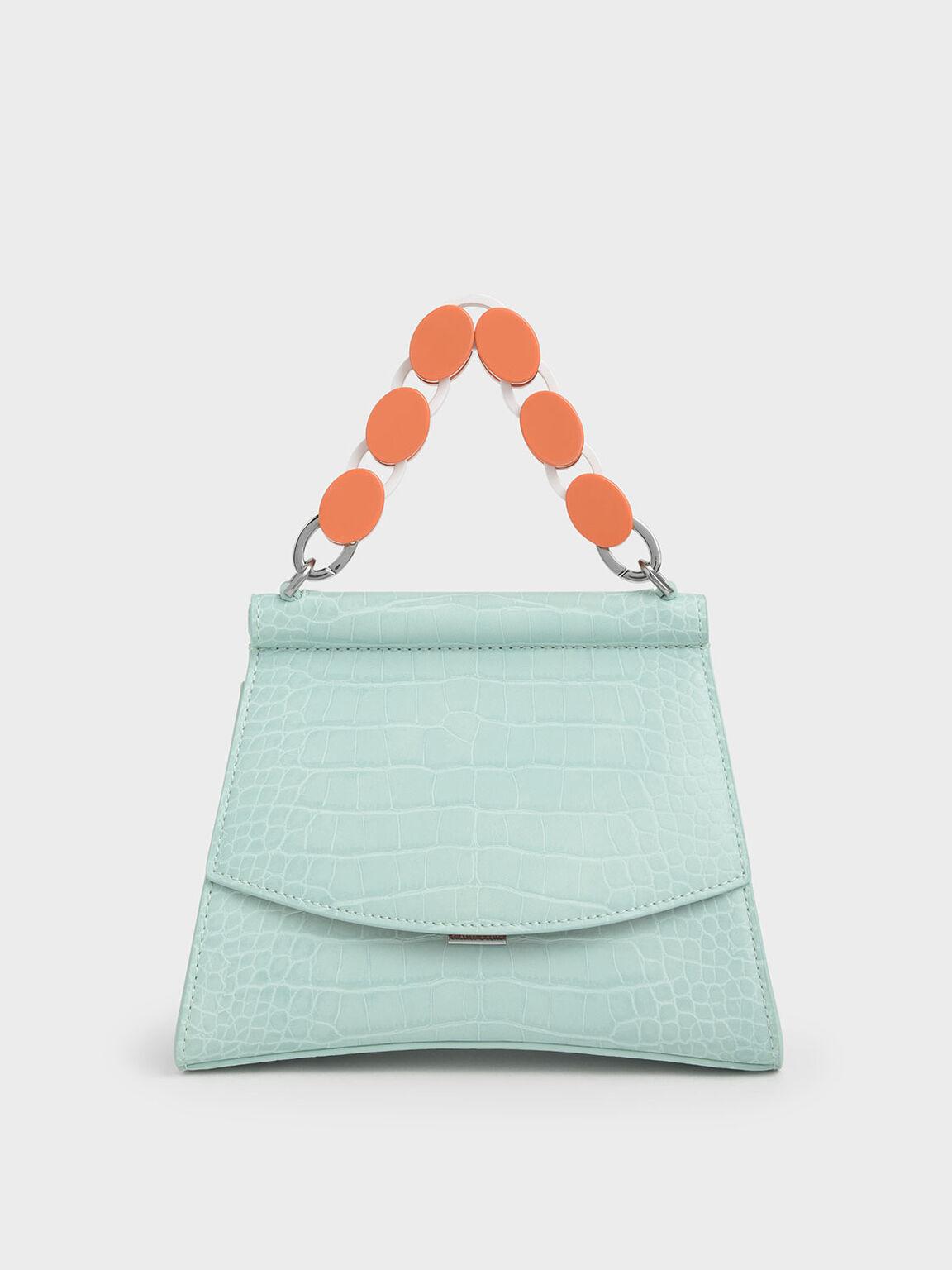 壓克力鍊條掀蓋包, 薄荷藍, hi-res