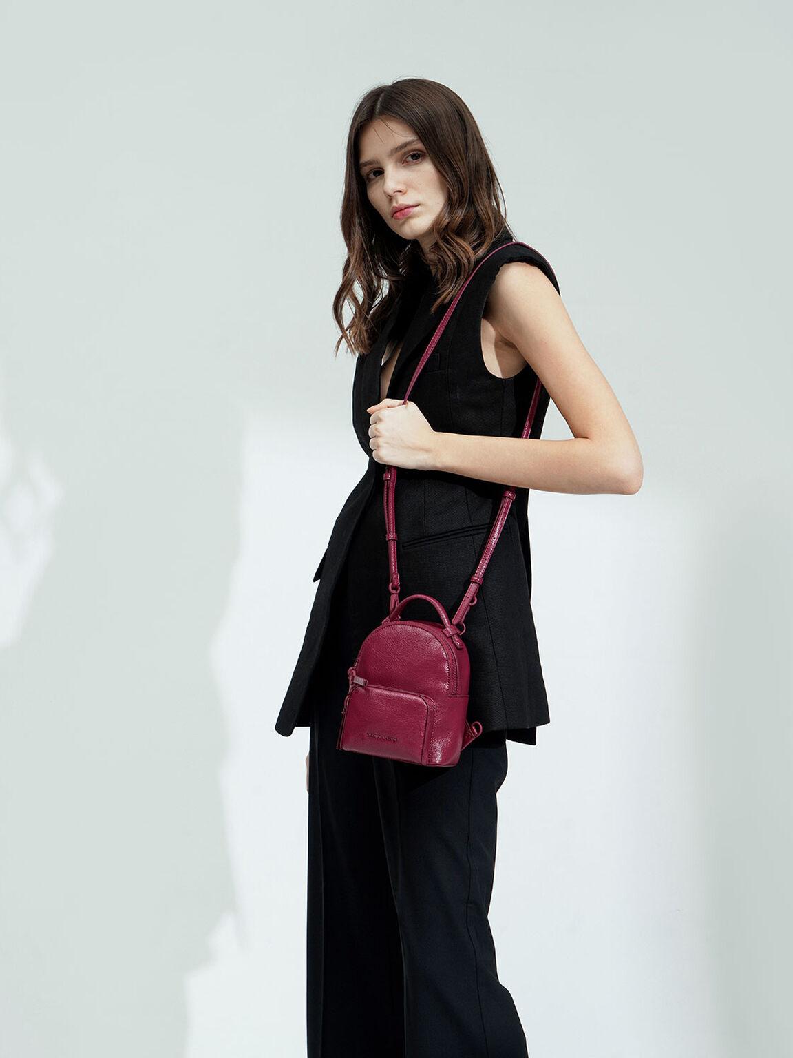 Mini Double Zip Backpack, Berry, hi-res