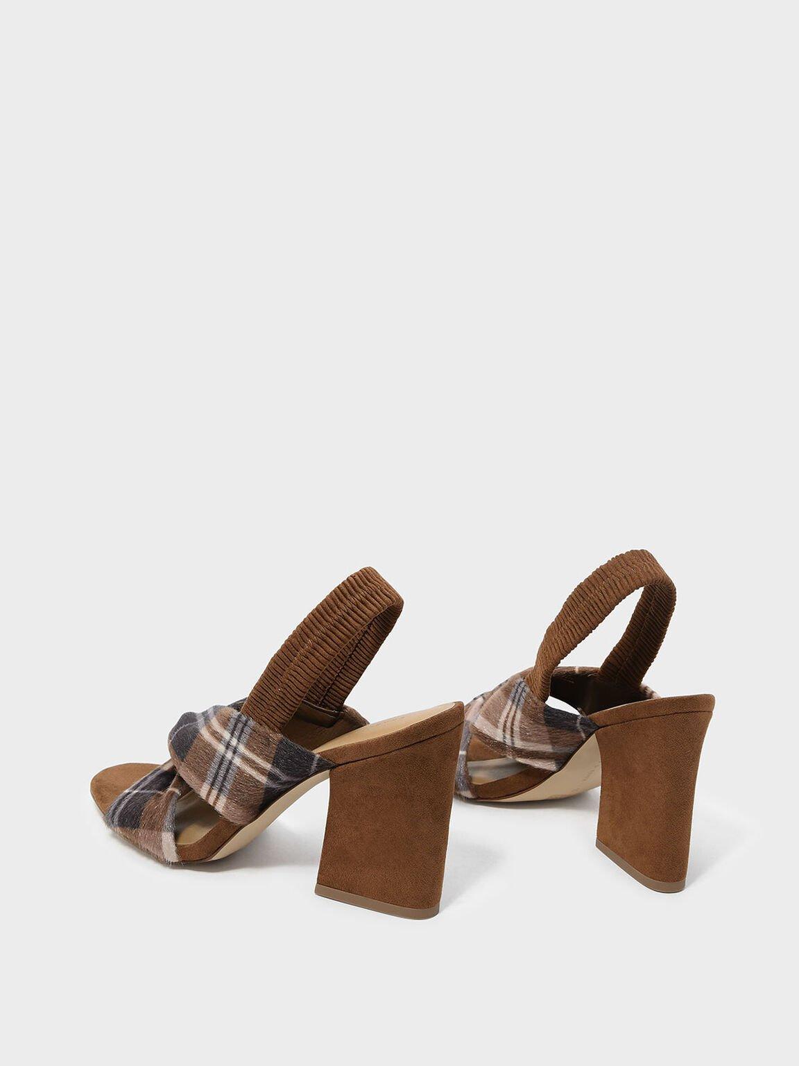 Twist Detail Slingback Heels, Brown, hi-res