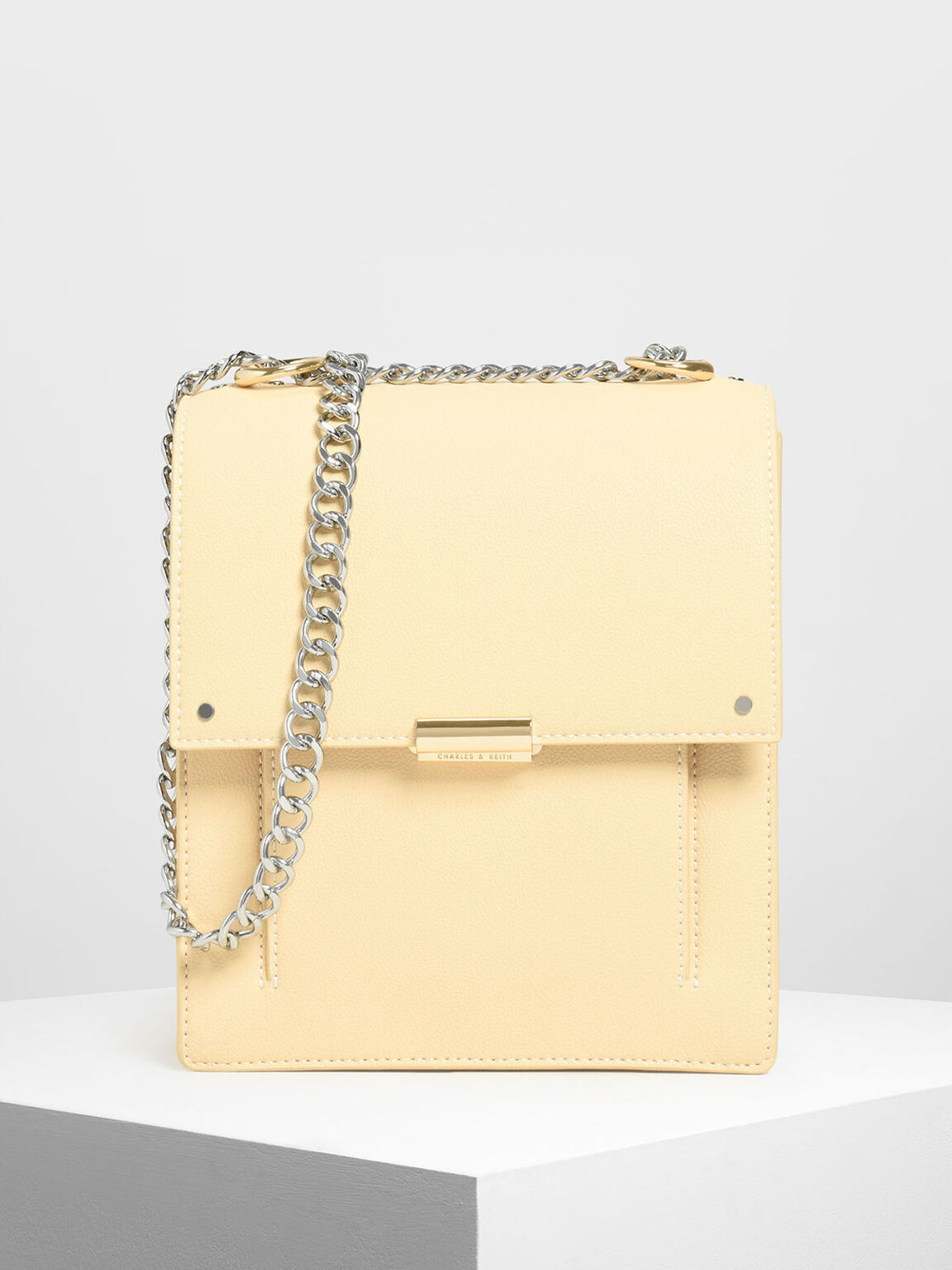 Chain Strap Portrait Messenger Bag, Yellow, hi-res