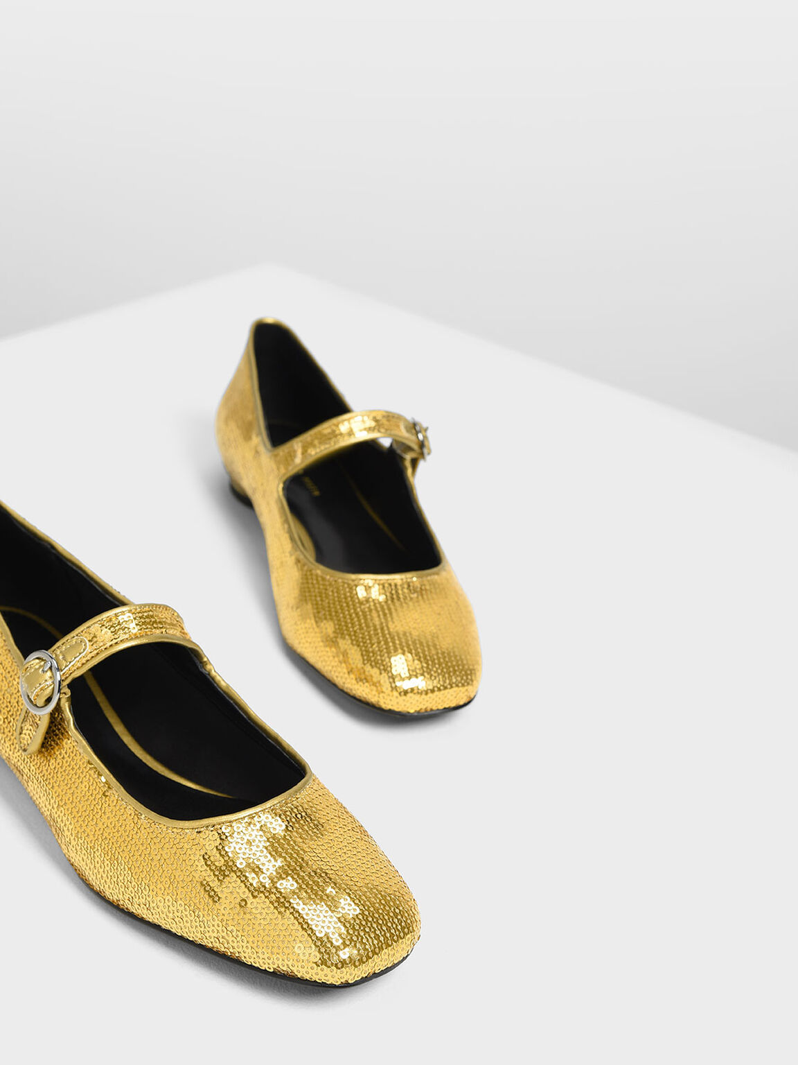 Sequin Detail Mary Jane Flats, Gold, hi-res