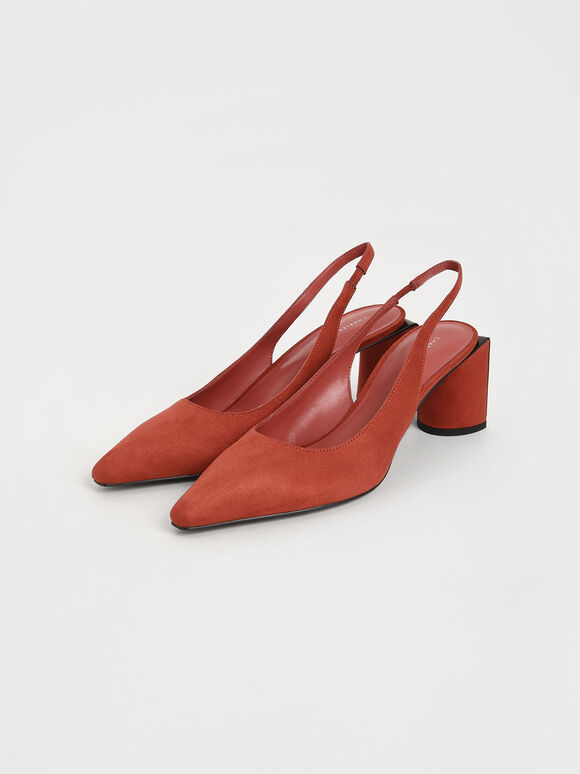 Textured Half Moon Slingback Pumps, Brick, hi-res