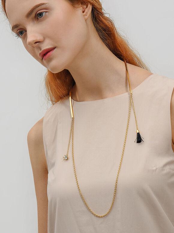 Charm Detail Necklace, Black, hi-res