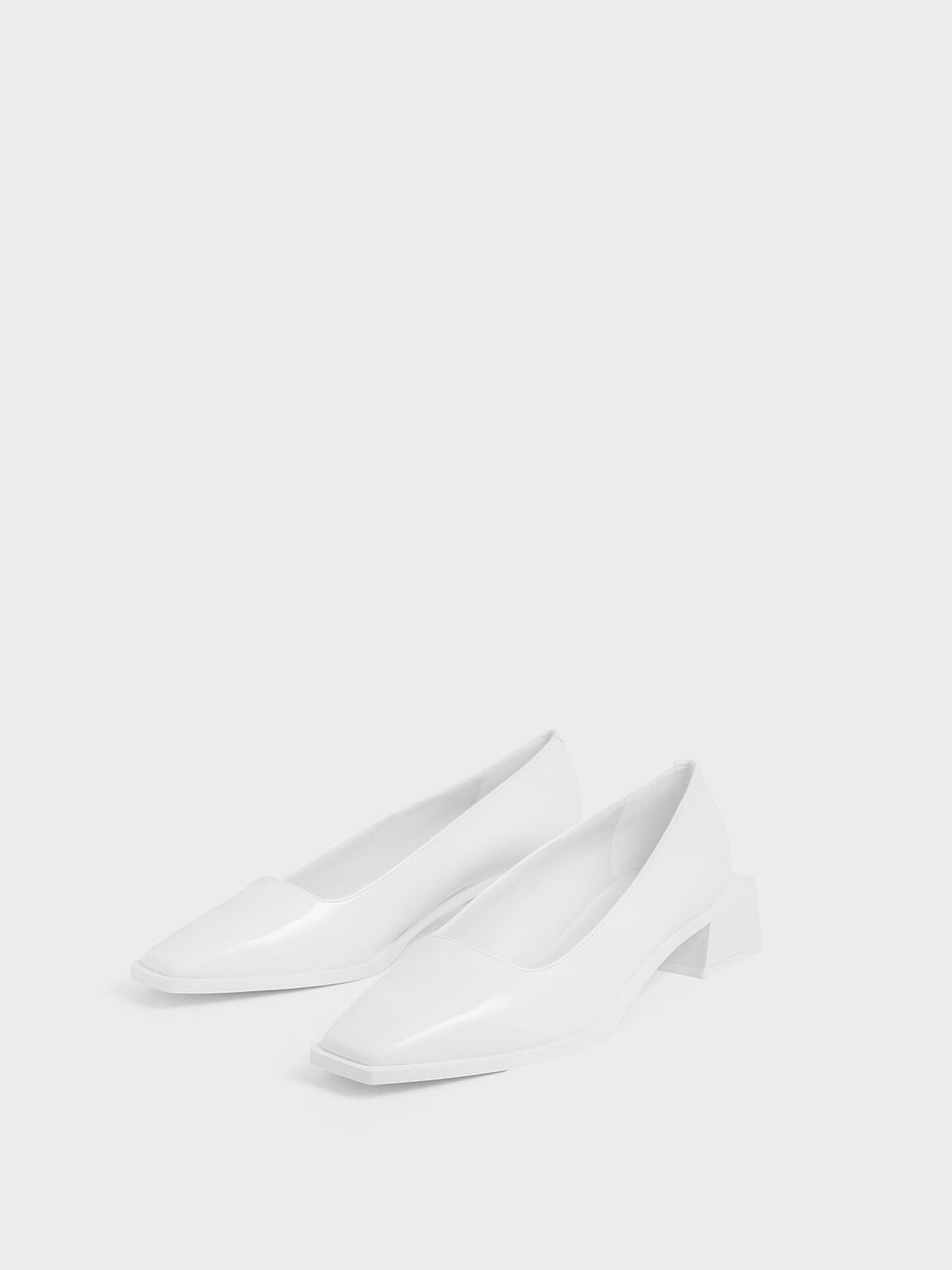 Square Toe Block Heel Pumps, White, hi-res