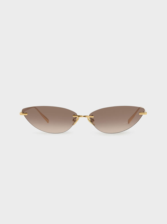 Rimless Cat-Eye Sunglasses, Brown, hi-res