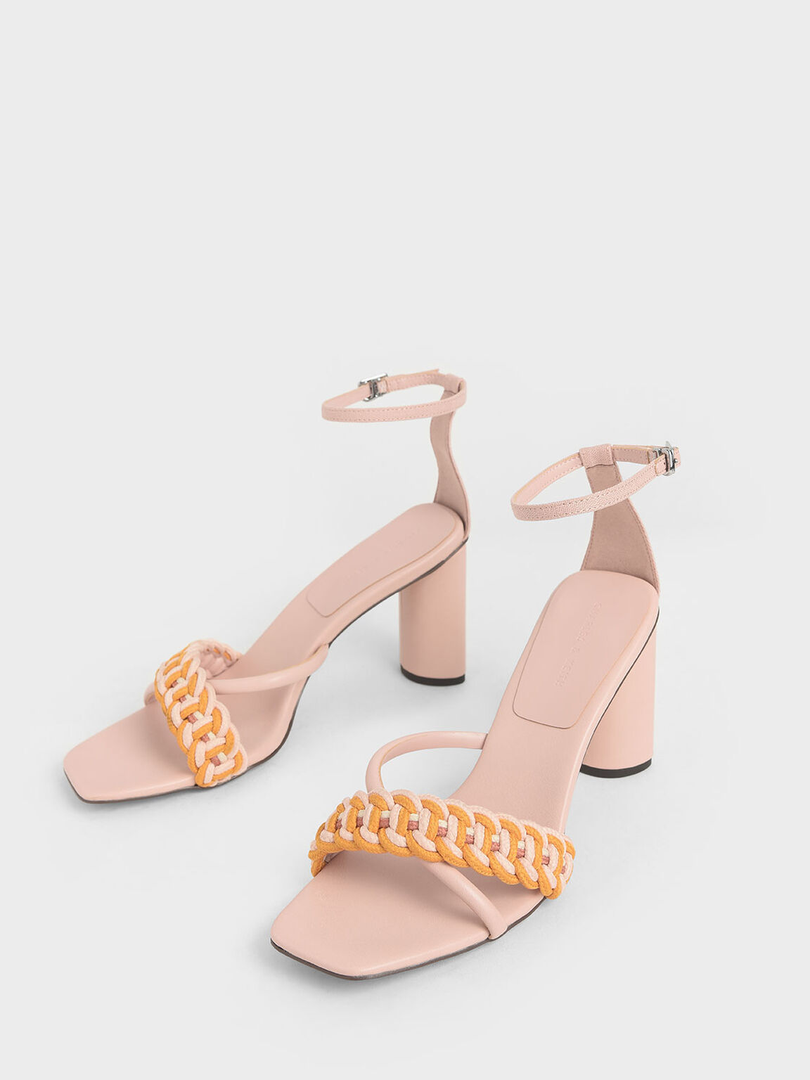 編織圓柱跟涼鞋, 膚色, hi-res