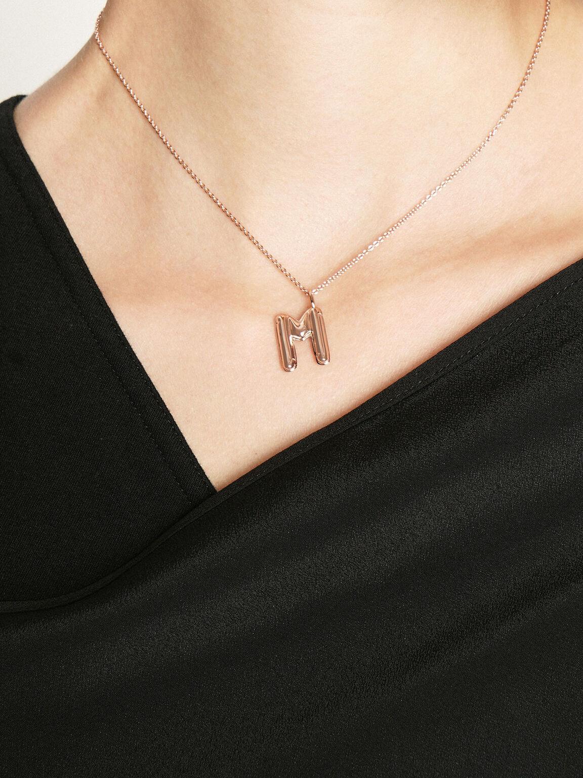 Alphabet 'M' Charm, Rose Gold, hi-res