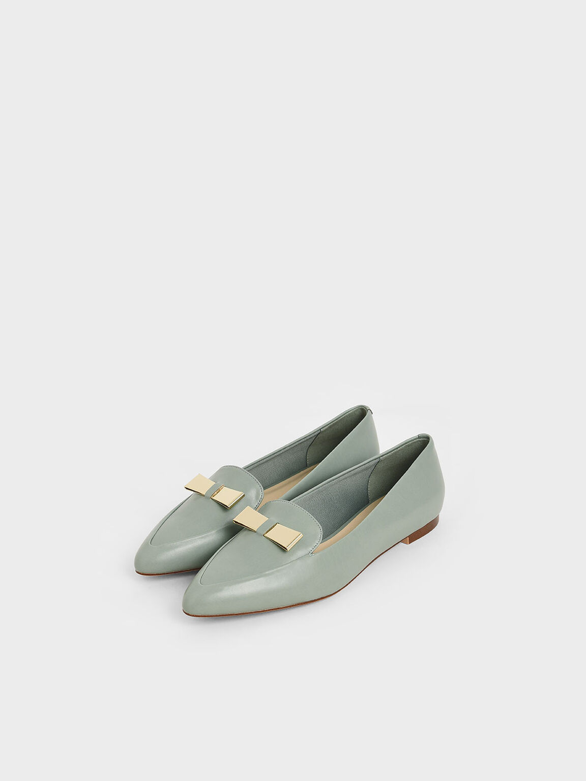Metal Bow Pointed Loafers, Green, hi-res