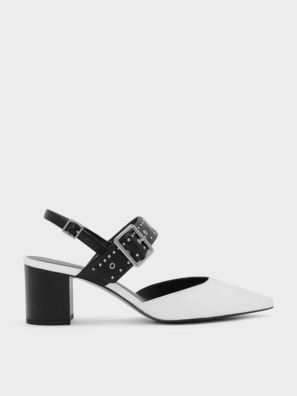 鉚釘尖頭低跟鞋, 白色, hi-res