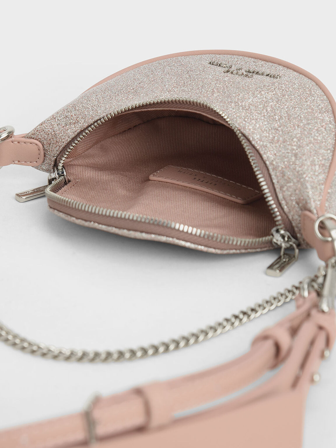 Girls' Glittered Chain-Embellished Crossbody Bag, Light Pink, hi-res