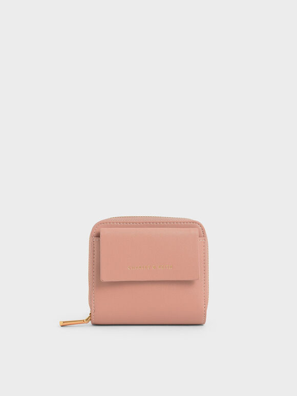 簡約拉鍊短夾, 嫩粉色, hi-res