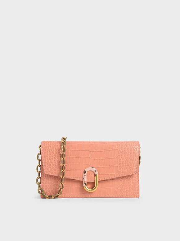 Croc-Effect Stone-Embellished Envelope Wallet, Peach, hi-res