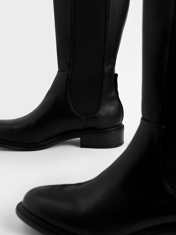 Knee High Chelsea Boots, Black, hi-res