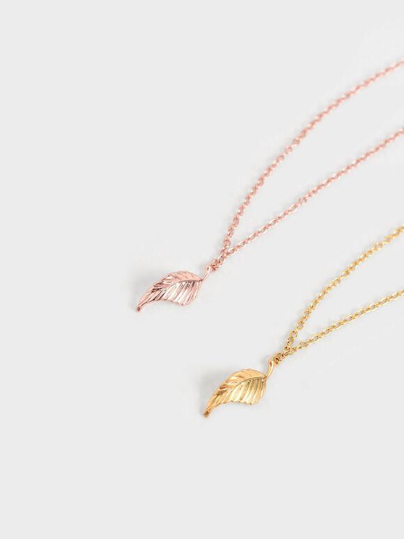 Leaf Bead Bracelet, Rose Gold, hi-res