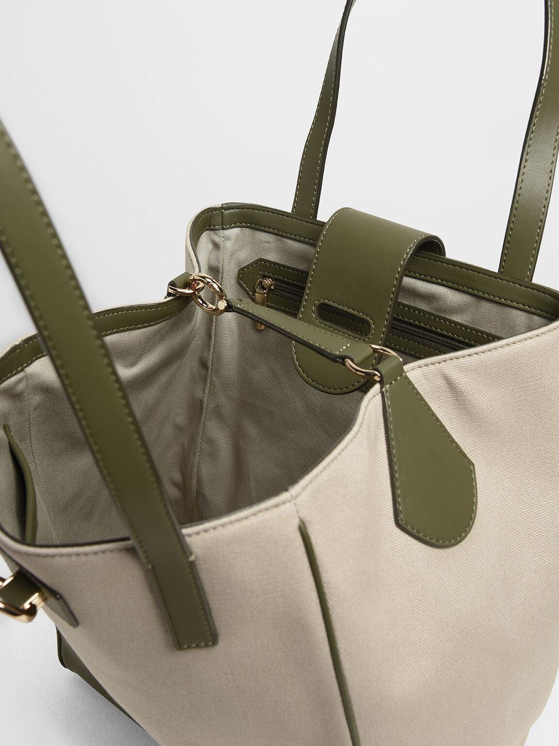 Canvas Trapeze Tote Bag, Olive, hi-res