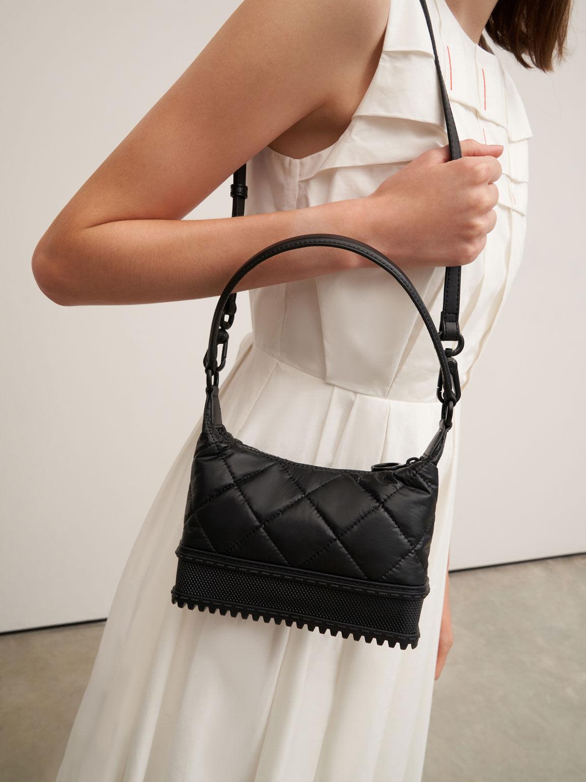 Single Handle Puffer Bag, Black, hi-res