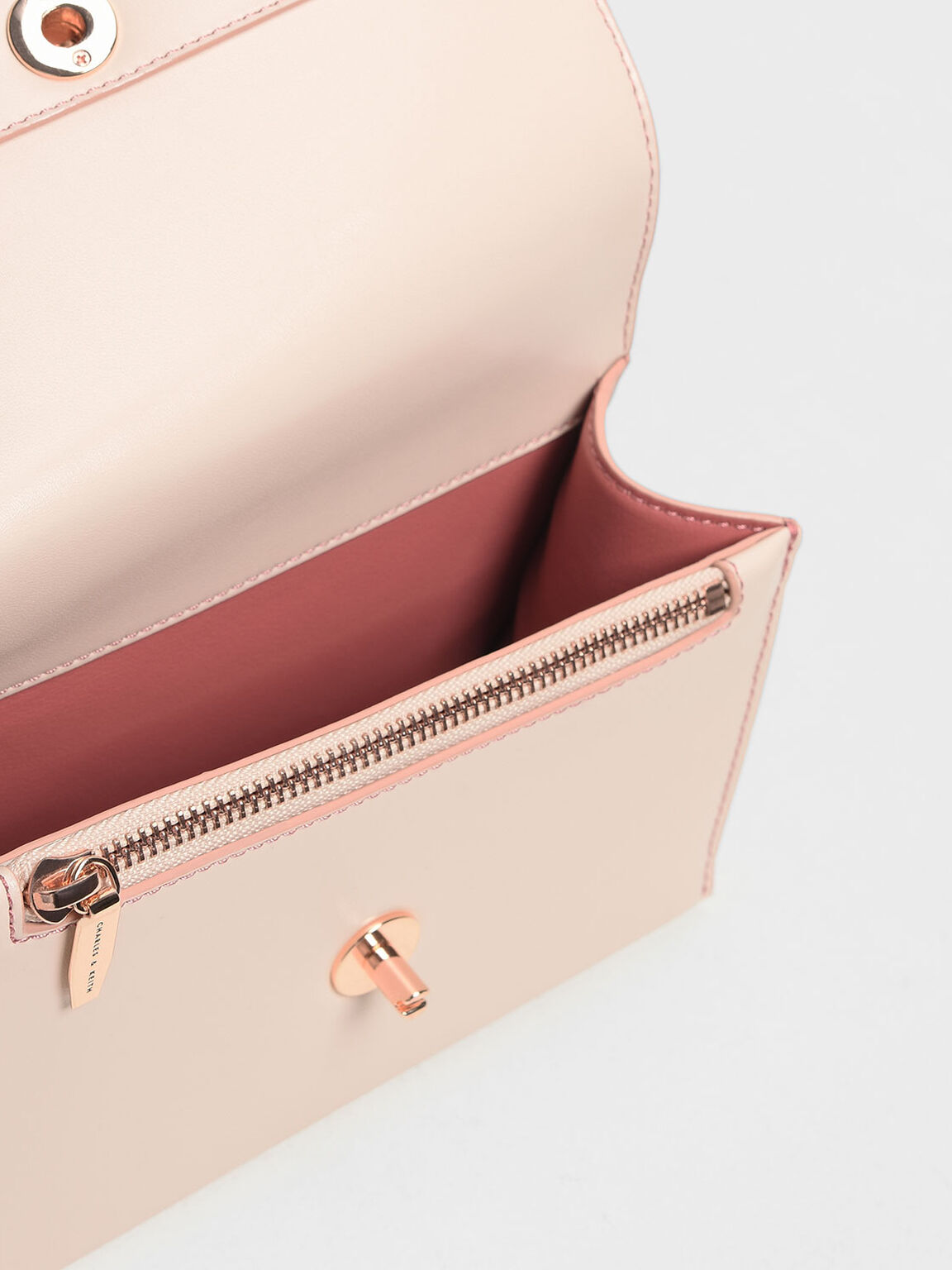 Chain & Strap Push Lock Shoulder Bag, Light Pink, hi-res