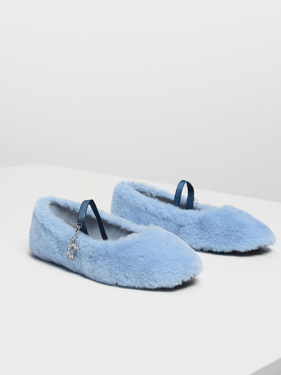 Kids Furry Mary Janes, Blue, hi-res