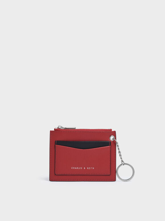 Two-Tone Zip Pocket Card Holder, Red, hi-res