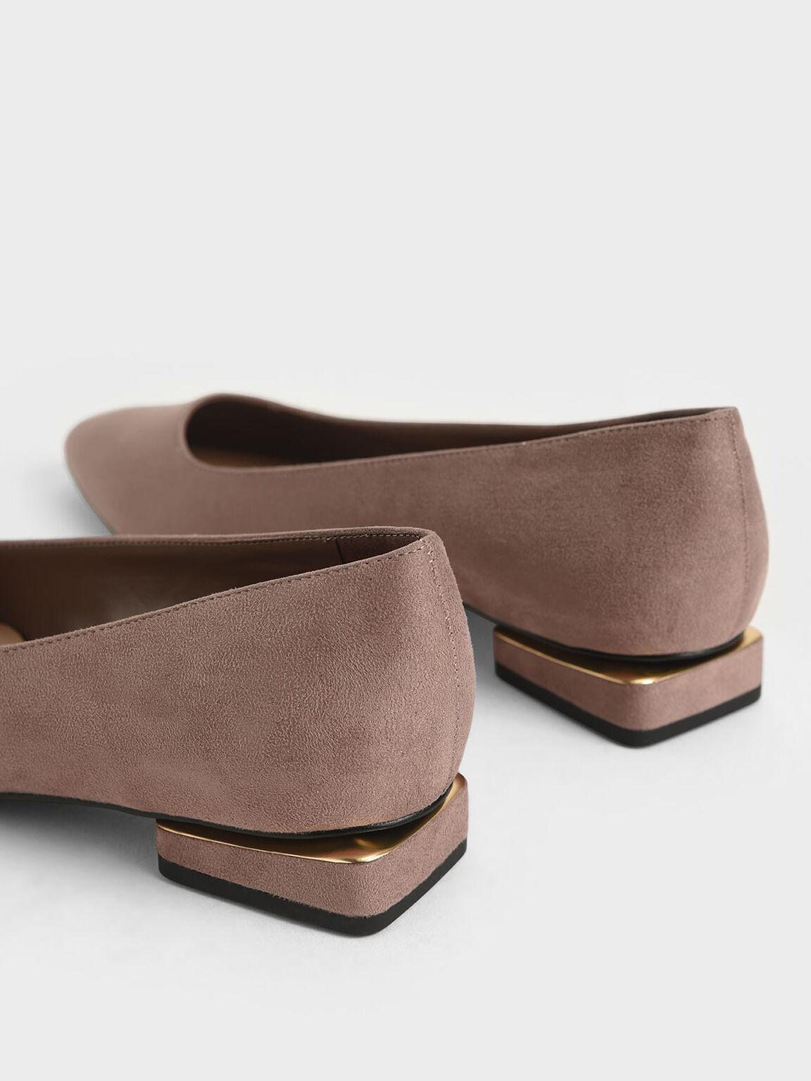 Textured Ballerina Flats, Taupe, hi-res