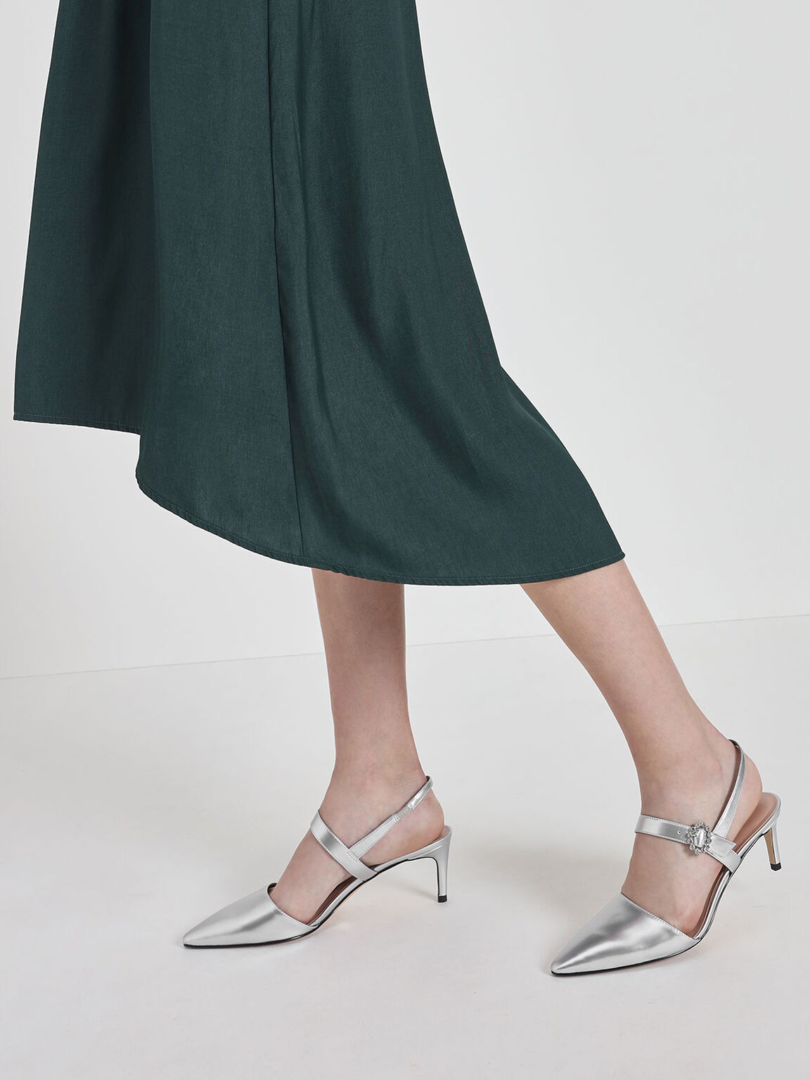 Metallic Mary Jane Slingback Pumps, Silver, hi-res