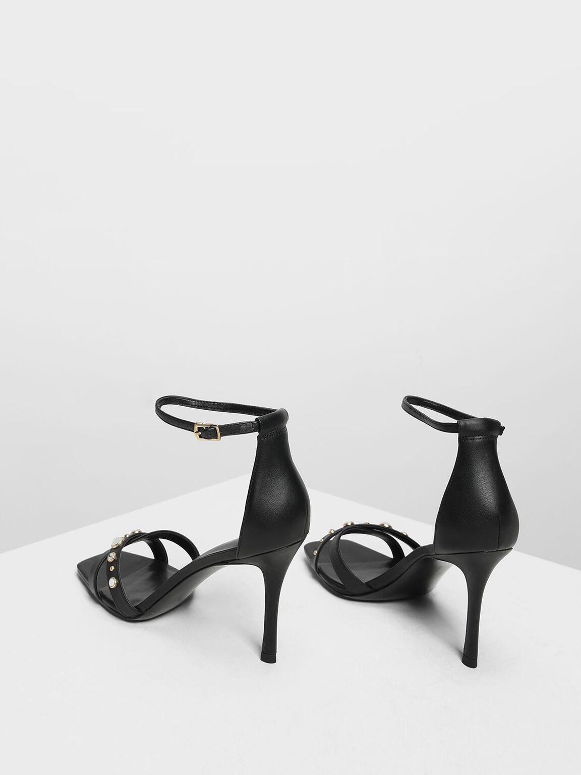 Embellished Crossband Heeled Sandals, Black, hi-res