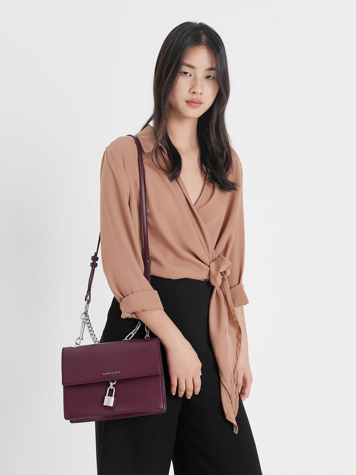 Padlock Shoulder Bag, Prune, hi-res