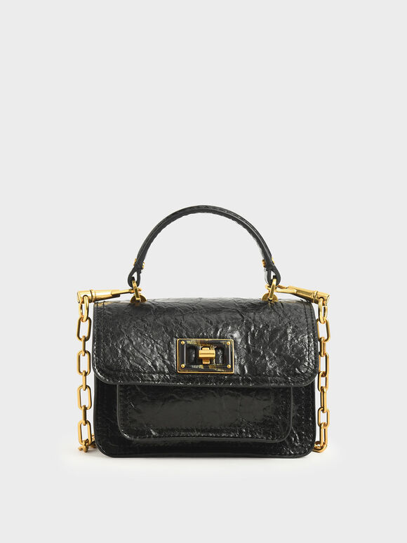 Wrinkled Effect Mini Bag, Black, hi-res