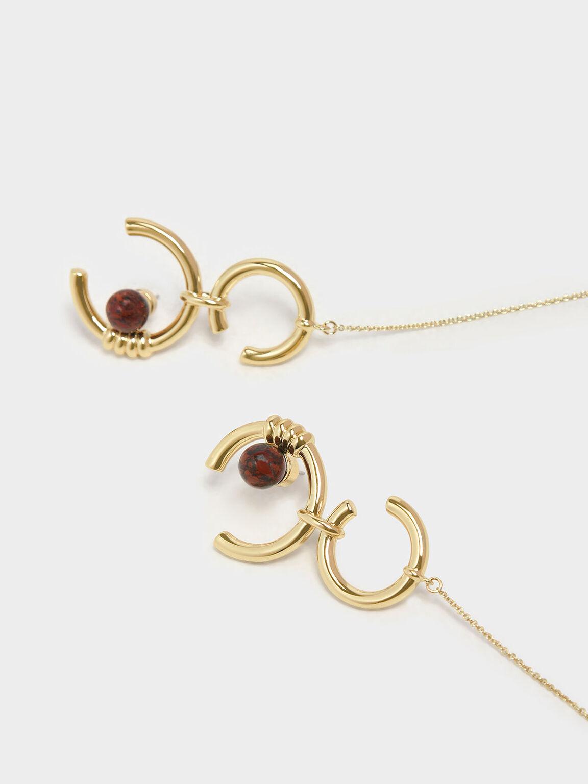 Jasper Stone Chain Link Earrings, Gold, hi-res