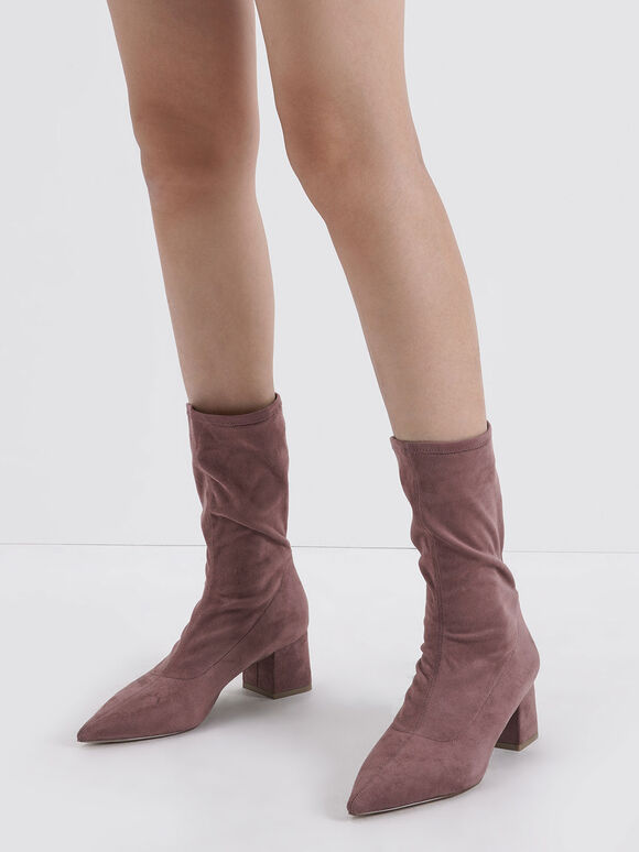 Textured Pointed Toe Calf Boots, Mauve, hi-res