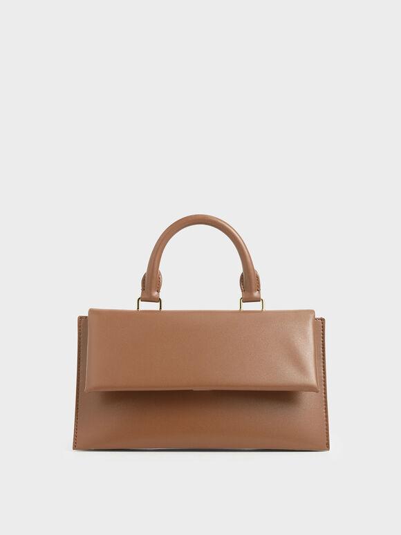 Rectangular Top Handle Bag, Brown, hi-res
