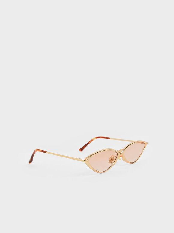 金屬框貓眼墨鏡, 橘色, hi-res