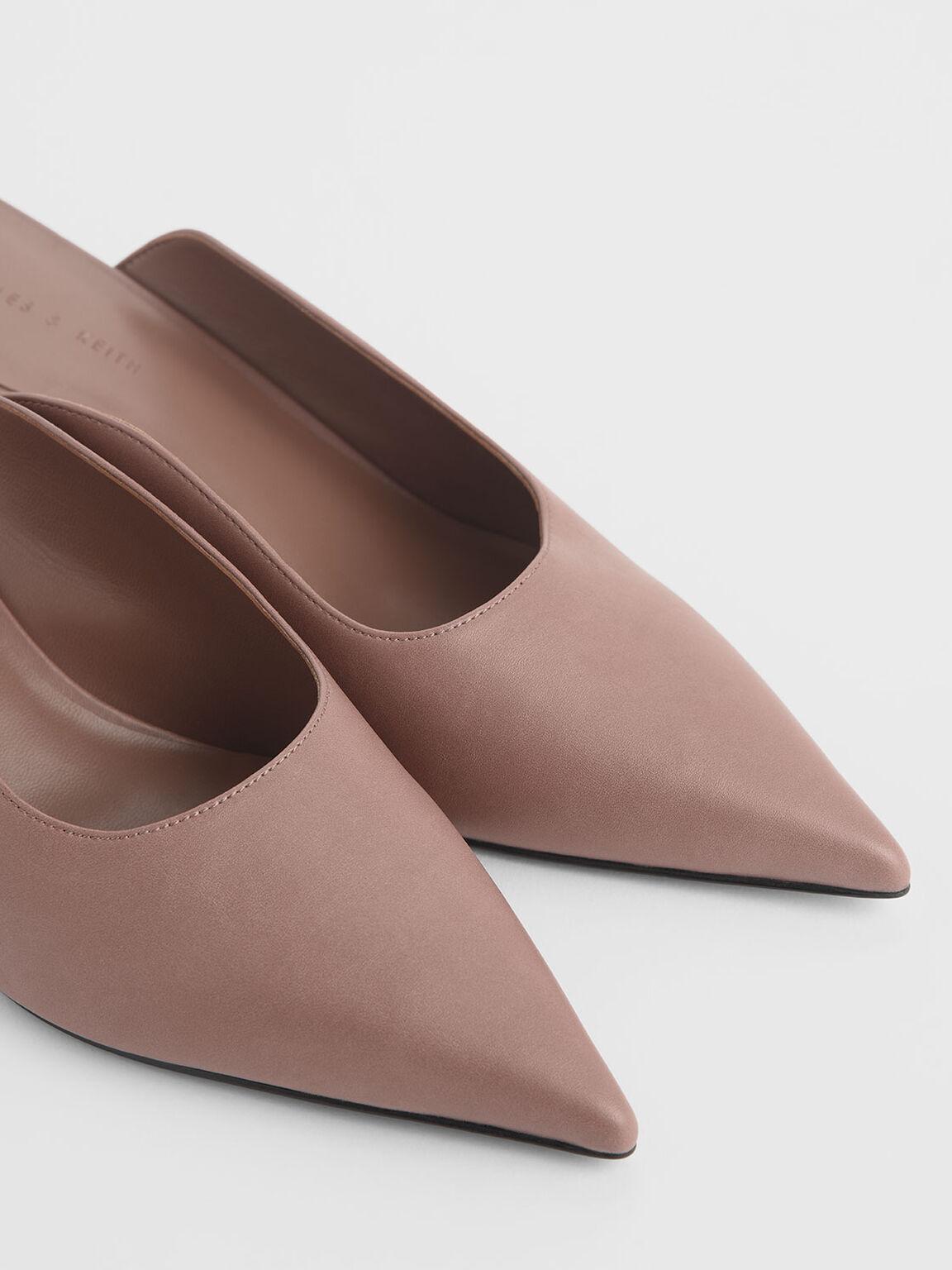 Pointed Toe Wedge Heel Mules, Pink, hi-res