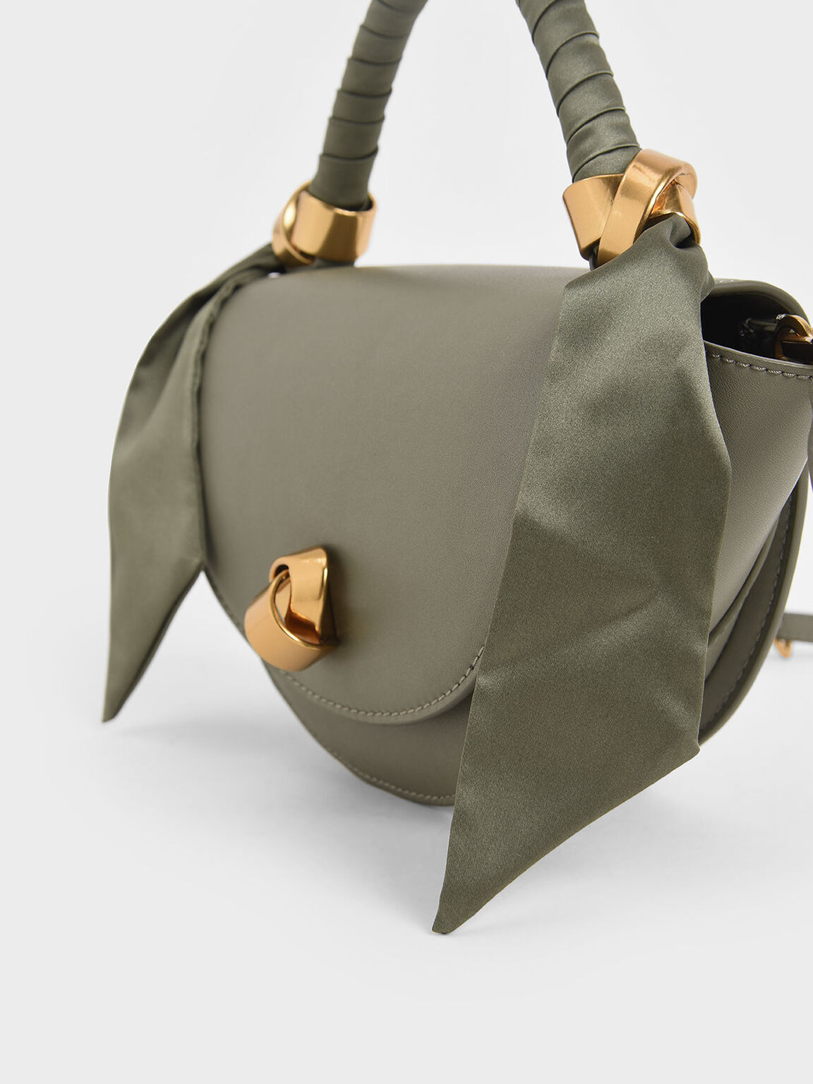 Satin Pleated Scarf Half Moon Bag, Sage Green, hi-res