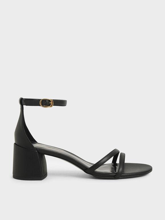 繞踝粗跟涼鞋, 黑色, hi-res
