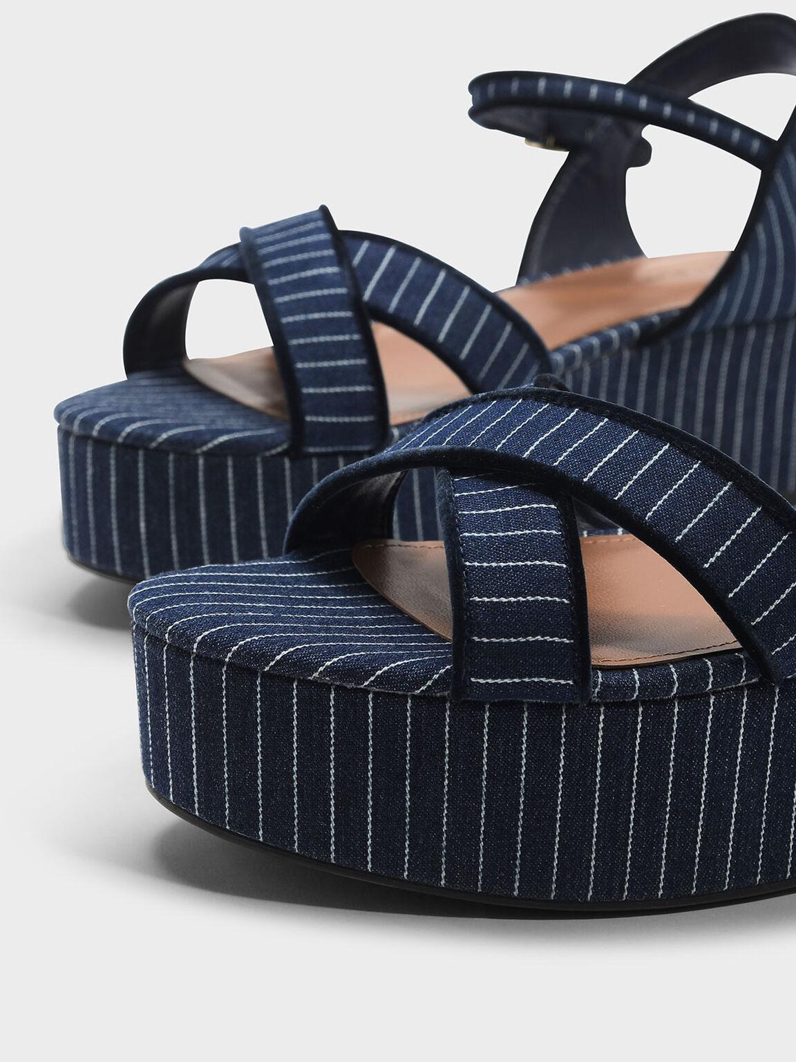 交叉帶厚底涼鞋, 藍色, hi-res