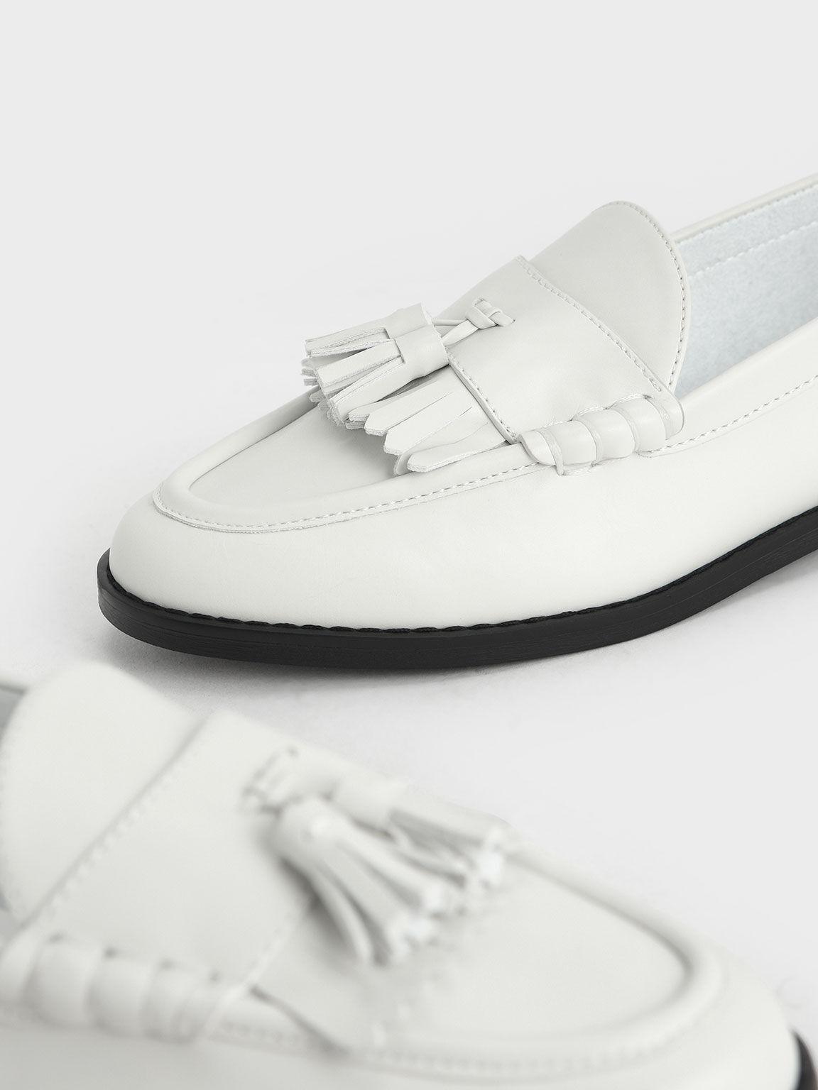 流蘇樂福鞋, 白色, hi-res