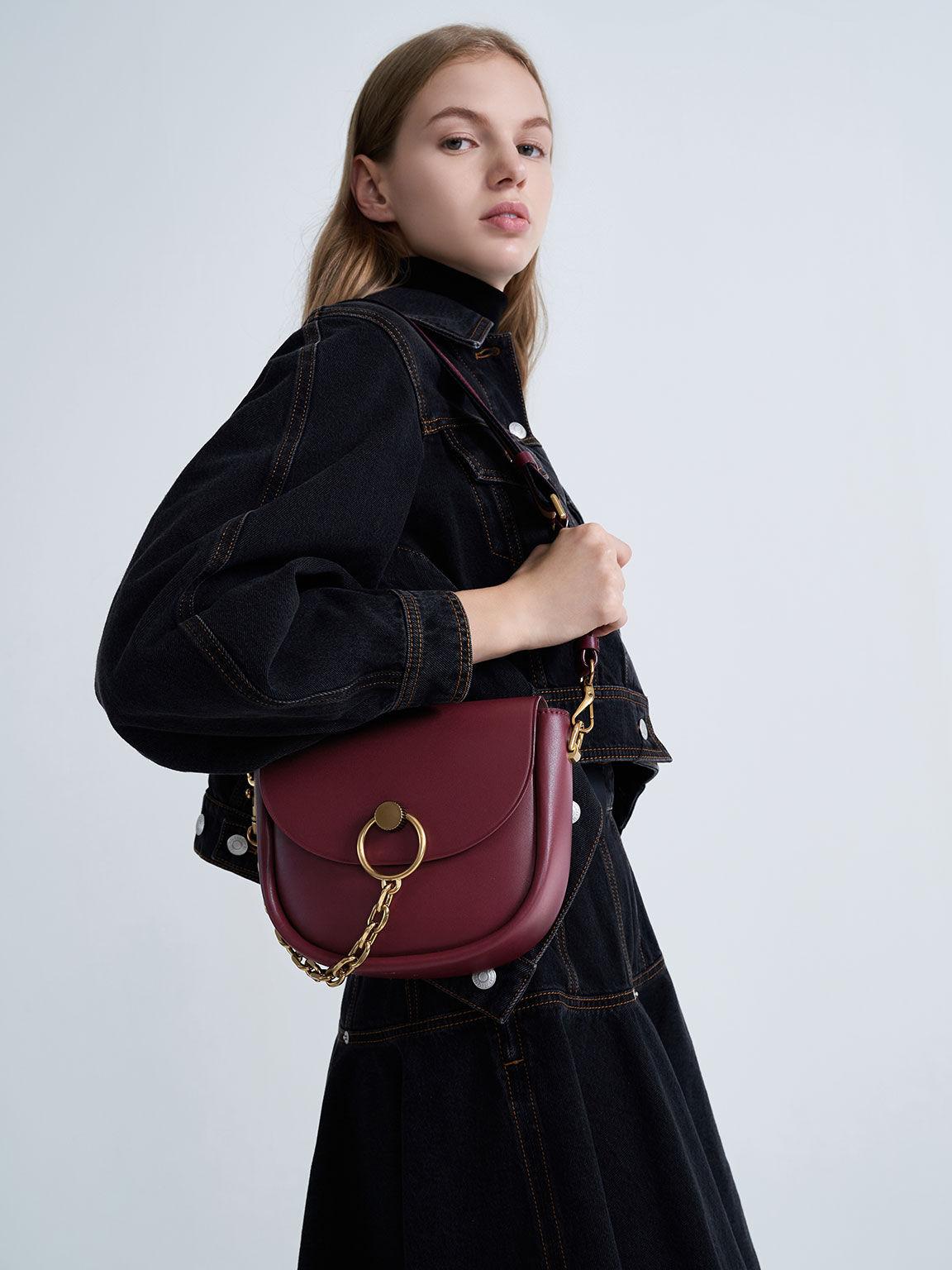 Chunky Chain-Link Saddle Bag, Burgundy, hi-res