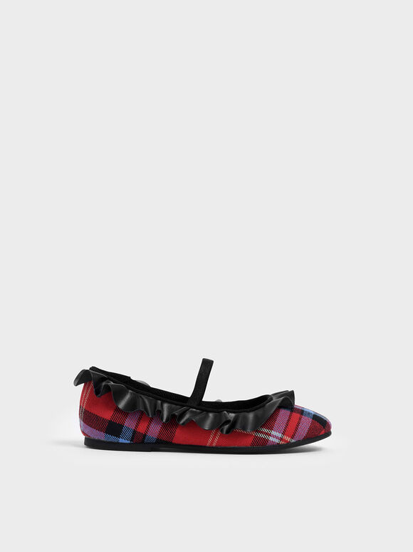 Girl's Frill Trim Check Print Mary Jane Flats, Red, hi-res