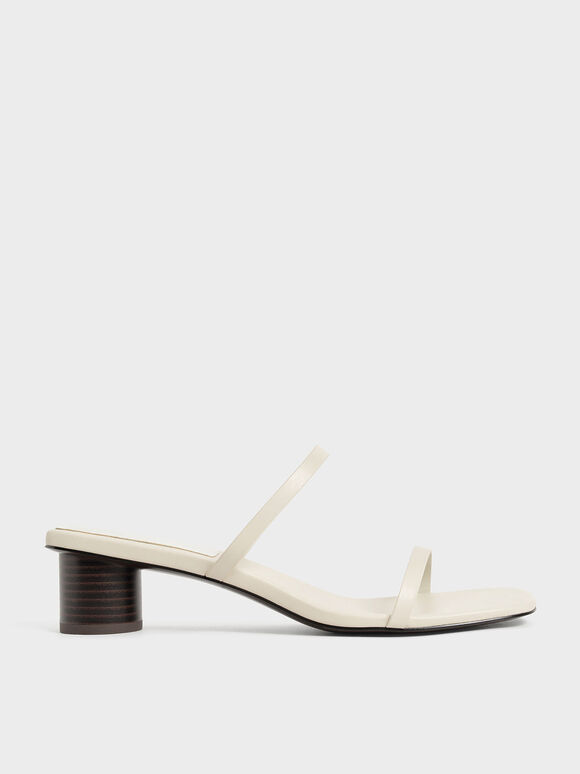 雙帶圓柱跟拖鞋, 石灰白, hi-res