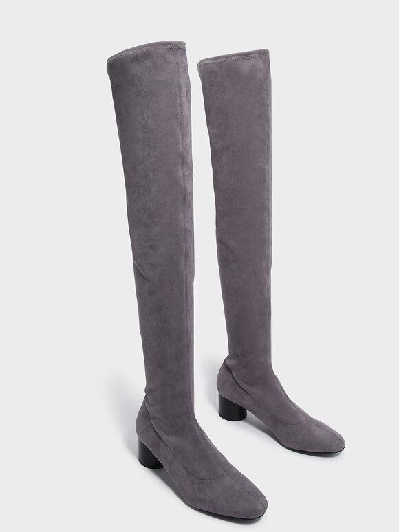 Textured Thigh High Boots, Grey, hi-res