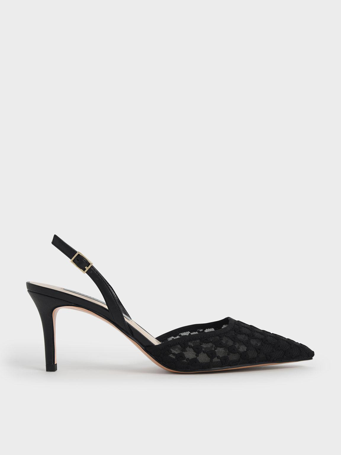 蕾絲編織細跟鞋, 黑色, hi-res