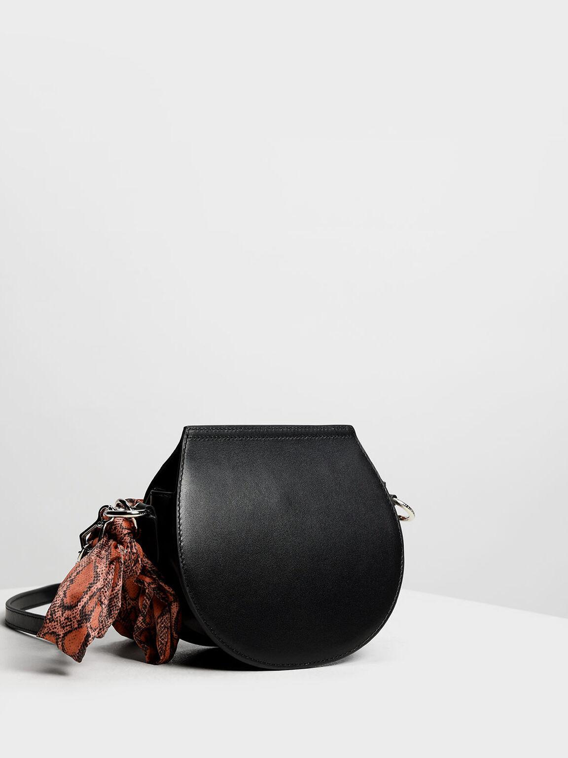 Leather Satin Scarf Crossbody Bag, Black, hi-res