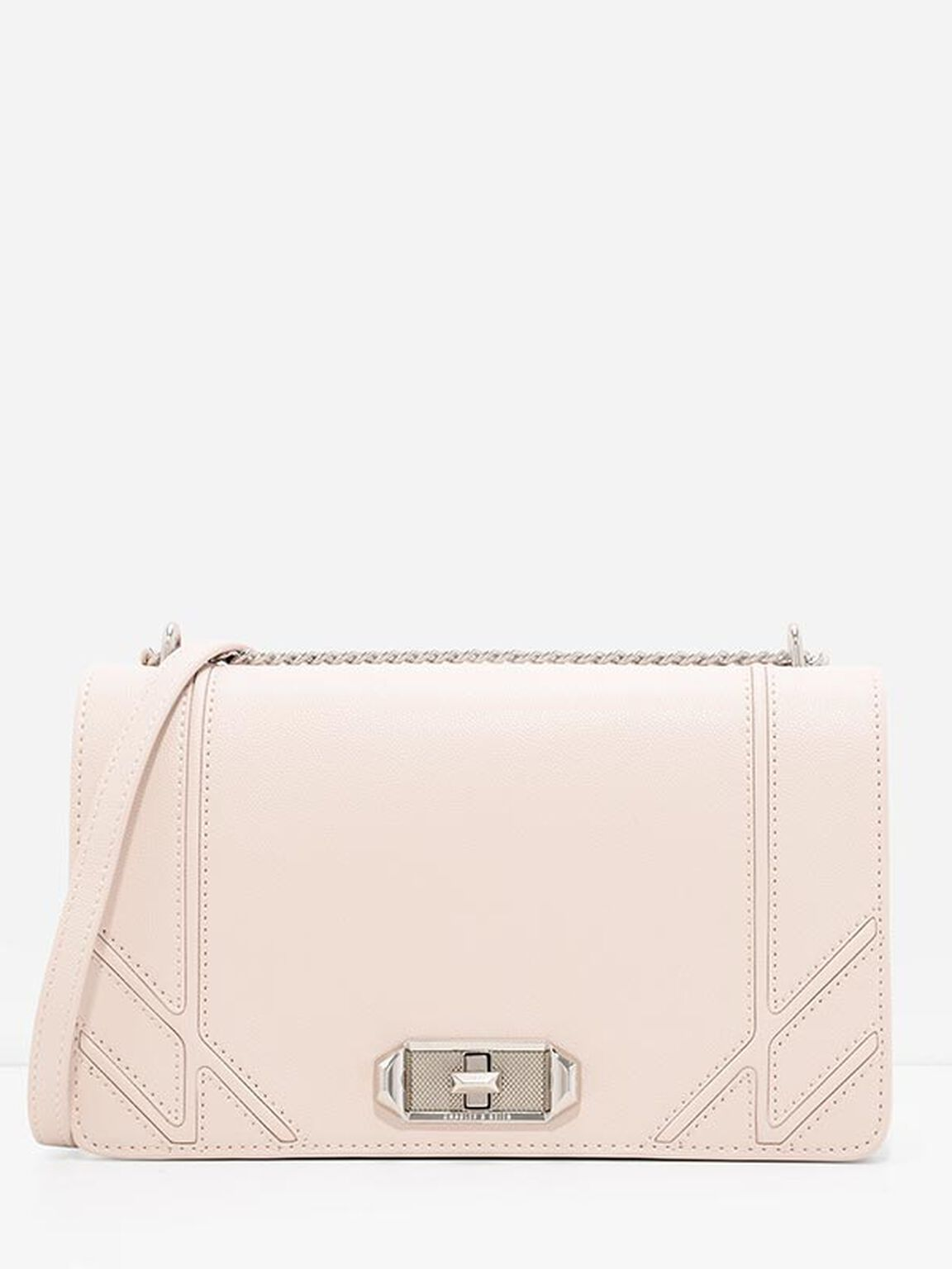 Turn-Lock Chain Crossbody, Light Pink, hi-res